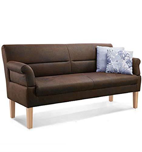 CAVADORE 2,5-Sitzer Kira / Sitzbank für Küche, Esszimmer oder Wohnküche in Lederoptik / Inkl. Armteilverstellung und Federkern / 168 x 94 x 81 /...