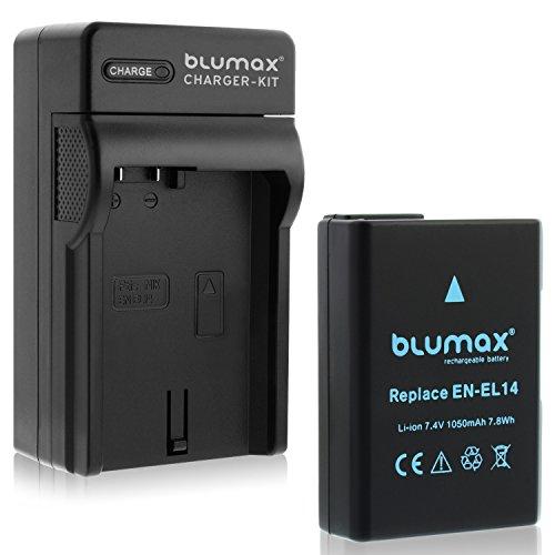 Blumax Akku für Nikon EN-EL14 / EN-EL14a 1050mAh + Ladegerät für EN-EL14 / EN-EL14a   passend zu Nikon DF-D3100-D3200-D3300-D3400-D5200-D5300-D5400-D5500   Coolpix P7000-P7100-P7700-P7800