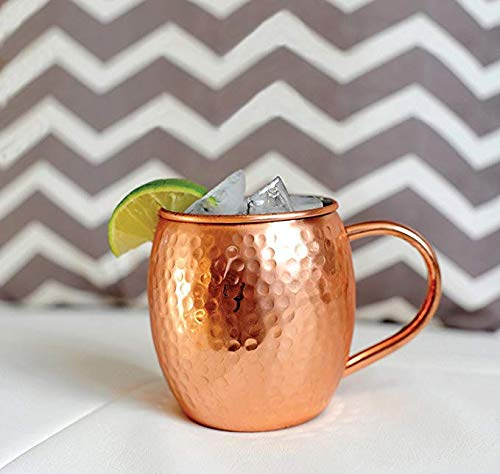 Etroves Coper Barrel Mug For Moscow Mules - 16 oz - 100% Pure Handmade Hammered Copper - Heavy Gauge Best Premium Quality - No Lining