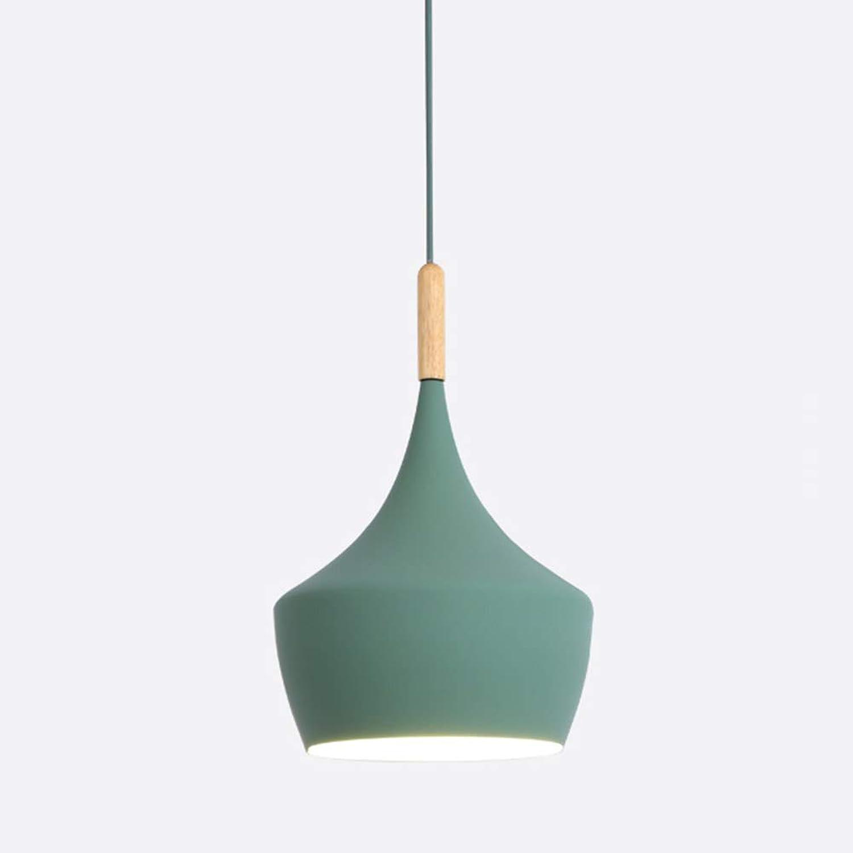 QLIGHA Lustre LED Illumination Moderne en Aluminium Couleur Abat-Jour Abat-Jour café Bar Restaurant décoré Lampe Suspendue (Ampoule Non Incluse),vert,B