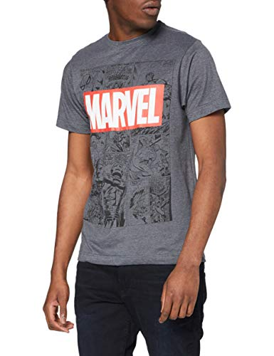Marvel Mono Comic T-Shirt Camiseta, Gris (Dark Heather), Large para Hombre