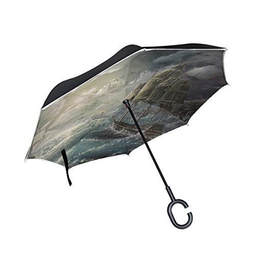 hengpai Star Wars - Paraguas invertido de Calavera para Coche, Resistente al Viento, a Prueba de Rayos UV, Doble Capa para Mujer