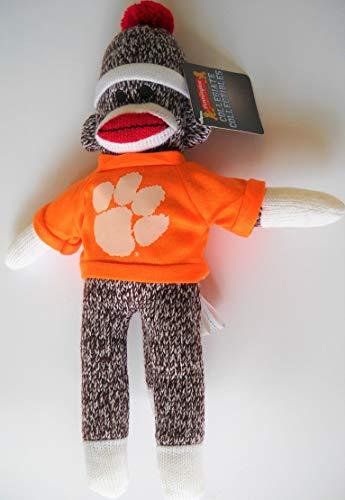 Pennington Bear Co.. Clemson University 8-inch Stuffed Animal Sock Monkey Doll with White Tiger Paw Logo on School-Color Orange Shirt