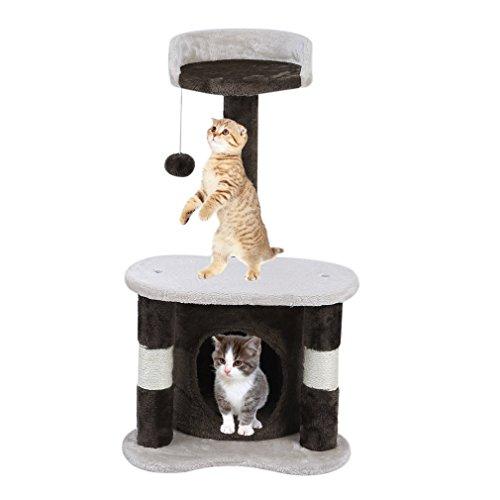 blackpoolal Katzen Kratzbaum, Kletterbaum mit vielen Kuschel- und Spielmöglichkeiten, Diverse Farben (Beige-65cm)