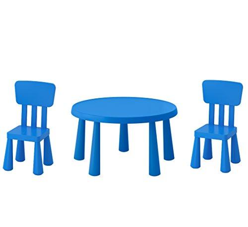 Ikea, mobili serie Mammut, tavolino per bambini con 2 sedie, colore: blu