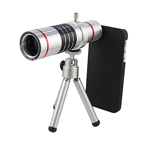 Shopping_Shop2000 18x Zoom Aluminum Universal Manual Focus Telephoto Telescope Phone Camera Lens Kit + Mini Tripod + Case For iPhone 6 (4.7') (iphone 6 18x Silver)