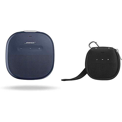 Bose Enceinte Bluetooth SoundLink Micro - Bleu Nuit & AmazonBasics Étui avec béquille pour Enceinte Bluetooth Bose SoundLink Micro - Noir