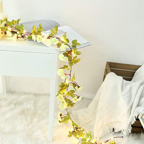 OUYAWEI Home LED Lichterketten Rattan Blumen mit LED Perlen Home Weihnachten Hochzeit Dekoration Beige 2 Meter 20 Lichter Batterie (warmweiß)