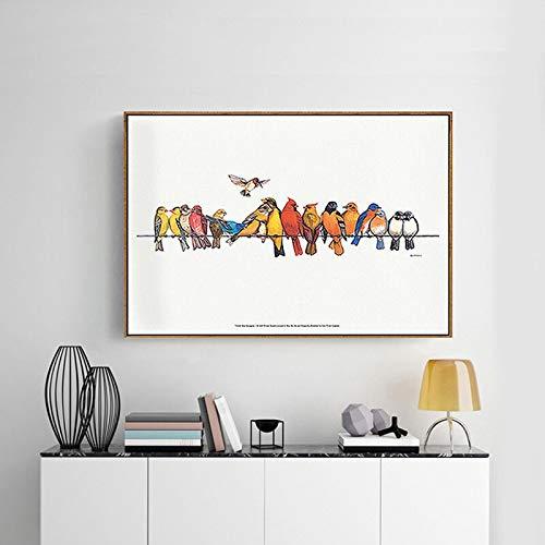 Geiqianjiumai Moderne Tier Kunstdruck Leinwand Poster Vogel Wandbild Dekoration Kinderzimmer Dekoration rahmenlose Malerei 40x50 cm