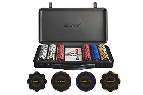 SLOWPLAY Nash Set de Poker | Maletin Poker, 300 Fichas Poker en Blanco de Arcilla, 14 Gramos, Ideal para Texas Holdem Poker |...