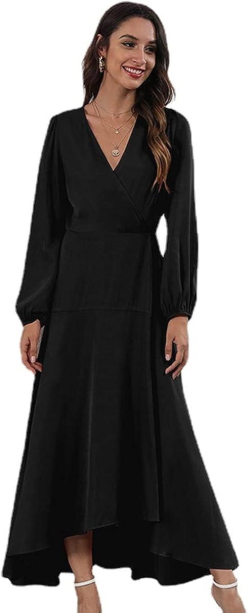2169 Women's Sexy V Neck Maxi Dress Long Sleeve Tie Belt A-Line
