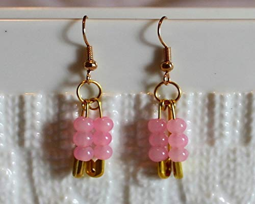Czech Crystal-Beaded Handmade famous Max 89% OFF Drop Pink In Earrings Dangle