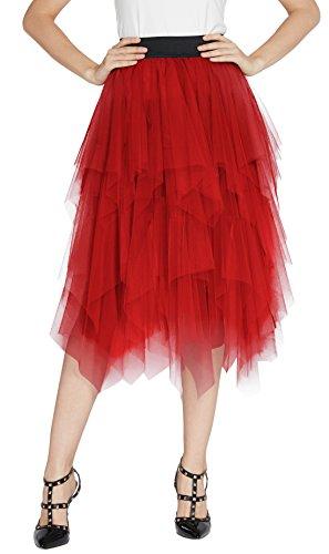Urban GoCo Mujeres Enagua Falda Corta Midi Tul Damas Cintura Elástica Asimetricas Tutu Falda para Fiesta Danza (XL, Rojo)