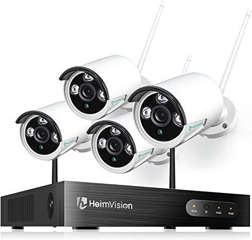 HeimVision HM241 防犯カメラセット 屋外/屋内 1080P 200万画素 ネットワークカメラ4台 8チャンネルNVRシステム IP66防水 暗視撮影 動体検知 監視カメラ・録画機セット スマホ/パソコン遠隔監視 増設可能