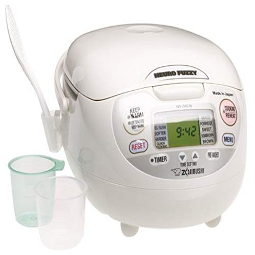 Zojirushi NS-ZCC10 5-1/2-Cup Neuro Fuzzy Rice Cooker and Warmer, Premium White, 1.0-Liter
