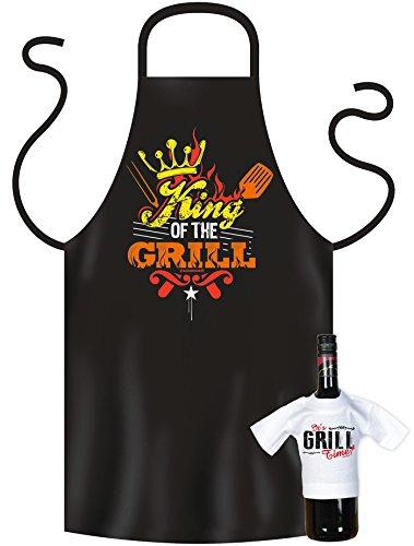 Grillschürze, Kochschürze, und Mini T-Shirt, im Geschenke Set, Geburtstagsgeschenk, King of the Grill