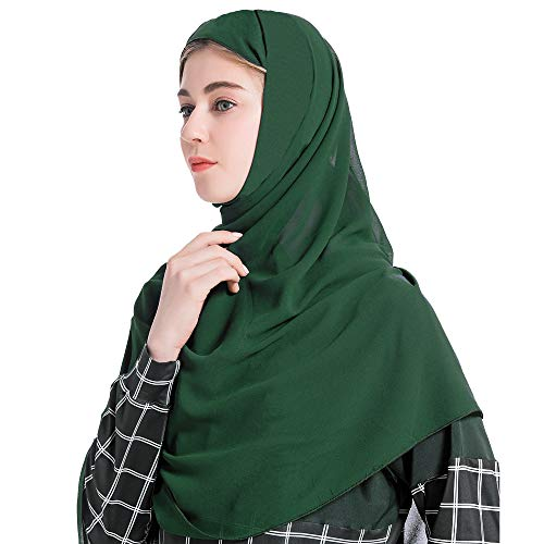 Grsafety2019 Mujer Musulmana Hijab bufanda Color sólido Elegante Islámica Fulares Pañuelos para la cabeza