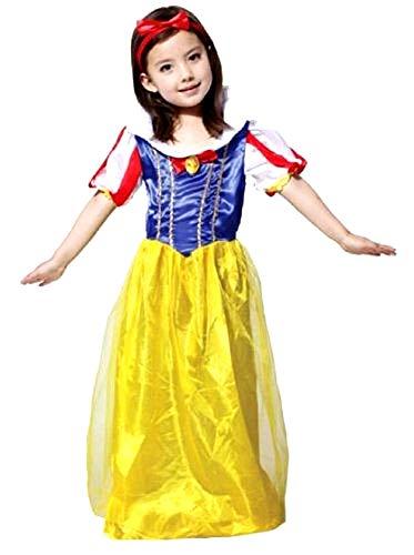 Costume - déguisement - carnaval - halloween - princesse blanche neige et les sept nains - couleur jaune - fille - taille l - 6/7 ans - idée cadeau pour Noël et anniversaire