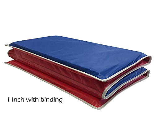 KinderMat, 1' Thick KinderMat, 4-Section Rest Mat, 45' x 19' x 1', Red/Blue with Grey Binding, Great for School, Daycare, Travel, and Home, Made in the USA