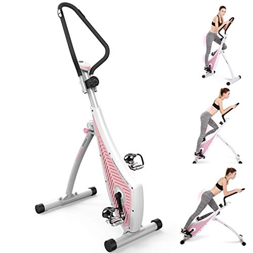Spinning Fiets Indoor Pedaling Fiets Mini Folding Hometrainer Magnetisch Gecontroleerde Silent Roeien Machine Cross Training Bike (Color : Pink, Size : 115 * 58 * 140cm)