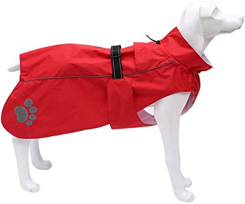 Midiao - Chubasquero para perros, chubasquero para perros, ropa de lluvia para perros con bandas ajustables y cordón, para perros medianos y grandes, color amarillo - XL, Rojo, Medium