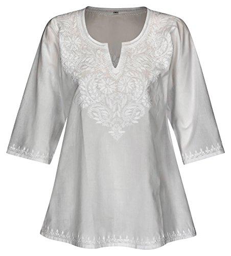 Maharanis Kurti Klassiker Tunika Bluse Reine Baumwolle weiß handbestickt XL