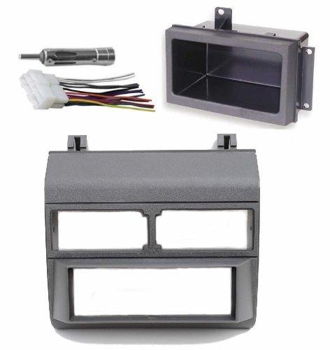 1988-1996 Gray Chevrolet & GMC Complete Single Din Dash Kit + Pocket Kit + Wire Harness + Antenna Adapter. (Chevy - Crew Cab Dually, Full Size Blazer, Full Size Pickup, Suburban, Kodiak) (GMC - Crew Cab Dually, Full Size Pickup Sierra, Suburban, Yukon) (1988, 1989, 1990, 1991, 1992, 1993, 1994, 1995, 1996)