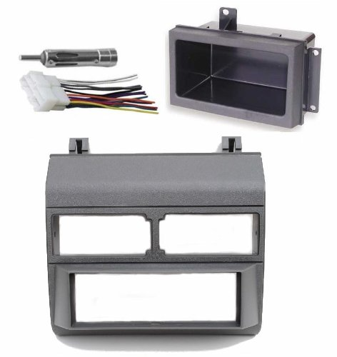 1988-1996 Gray Chevrolet & GMC Complete Single Din Dash Kit + Pocket Kit + Wire Harness + Antenna Adapter. (Chevy - Crew Cab Dually, Full Size Blazer, Full Size Pickup, Suburban, Kodiak) (GMC - Crew Cab Dually, Full Size Pickup Sierra, Suburban, Yukon)
