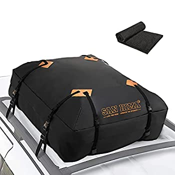 Car Roof Bag Cargo Carrier - 14.6 cu ft Waterproof Rooftop Bag Travel Storage Luggage Bag Soft-Shell Fits All Cars Vans & SUV for All Vehicle with/ Without Rack