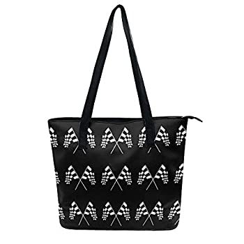 Women Checkered Racing Flag Tote Satchel Soft Leather Hobo Handbags Large Volume Shoulder Tote Bags for Travel Work Shopping Waterproof Satchel Purses