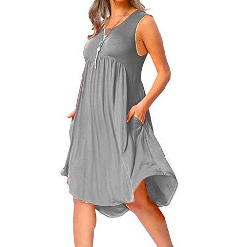 Pottoa Mouwloze midijurk voor dames, effen losse plooien, voor dames, voor zomers en vrouwen, elegante jurk, feestjurk, voor dames, grote maten