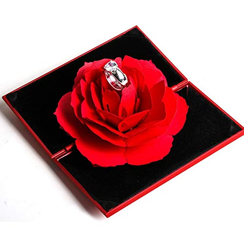 Joyero Anillos Elegantes De Moda 3d Caja Roja Alegre Caja De Compromiso De Boda Regalo De Flor Rosa Para El Amor Soporte De Almacenamiento De Exhibición De Joyería