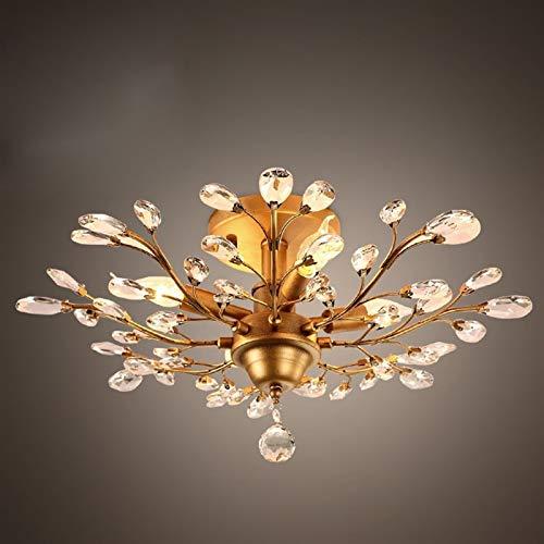 W.Z.H.H.H Lámpara Colgante Ramas de Cristal Retro de la lámpara de la Sala de la Cama habitación Negro Color de Color Oro E14 110-240 Candelabro (Lampshade Color : Oro, Wattage : Diameter 60cm)