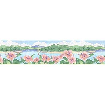 "SUNWORTHY Burgundy//Blue//Green Traditional Prepasted Wallpaper Border-15/'x 5 1//8/"""