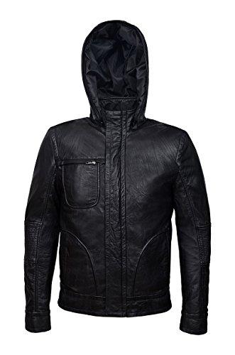 'Ghost Protocol' Men's Black Wrinkled Hooded Mission Impossible Leather Jacket (L)