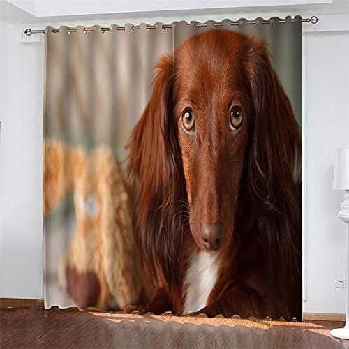 NQING Tende in Poliestere con Stampa Digitale, Ombreggiatura E Riduzione del Rumore Serie 3D Dog Adatte per Soggiorno, Cucina E Camera da Letto 2xL107xA183cm