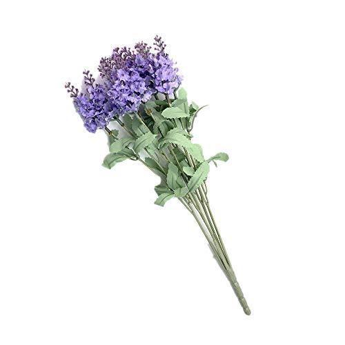 Ogquaton Falsa Flor Artificial Lavanda Flor Simulación Real Natural Seda Flores Bouquet Home Garden Decoración Púrpura