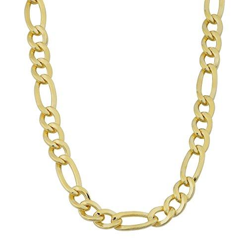 Para hombre 14K amarillo chapado en oro sólido 6mm de alta polaco Figaro cadena collar (18, 20, 22, 24o 30inch)