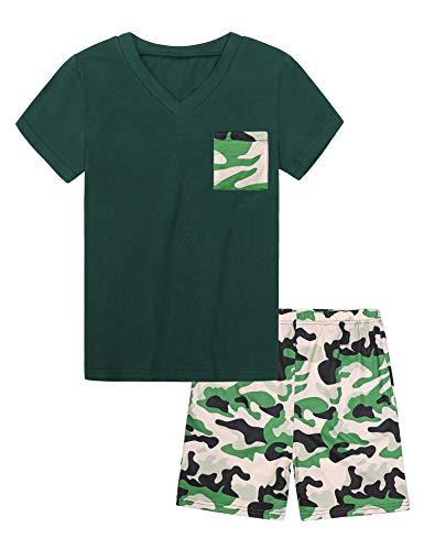 Hawiton Jungen Schlafanzug Kinder Baumwolle Pyjamas Sets Einfaches Gitter Langarm Zweiteilige Schlafanzug-Green-camouflage Tops-pants Green-12-13 Jahre