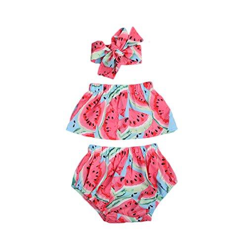Geagodelia Conjunto de 3 piezas de traje de baño para bebé de verano rojo con estampado de sandía, camiseta con hombros descubiertos + pantalones cortos + banda con lazo