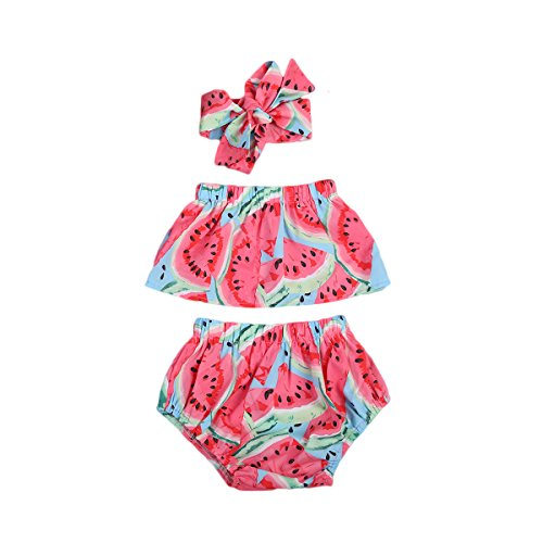 Geagodelia - Conjunto de 3 piezas de traje de baño para bebé de verano rojo con impresión de sandía, camiseta con hombros descubiertos + pantalones cortos + diadema con lazo rojo 6-12 meses