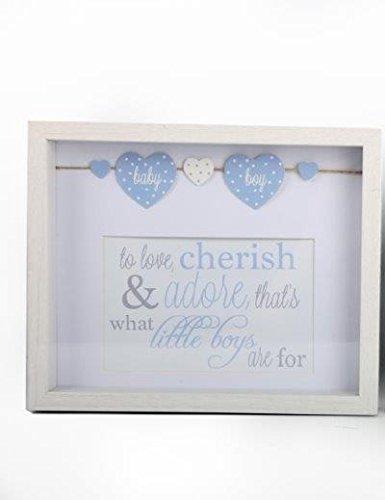 4 x 6 Bébé Photo Boite Cadre Rose Ou Bleu Garçon Ou Fille Autoportant Cadeau De Baptême - Bleu