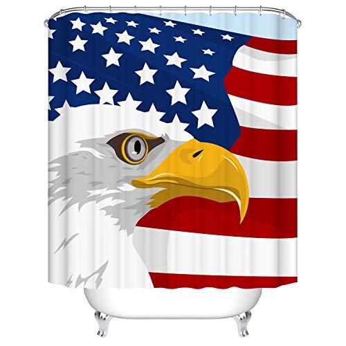 Fangkun Duschvorhang, Amerikanische Flagge, Adler-Design, Badvorhänge – wasserdichtes Polyester, Badezimmer-Gardinen, Dekor-Set – 12 Duschhaken – 183 x 183 cm