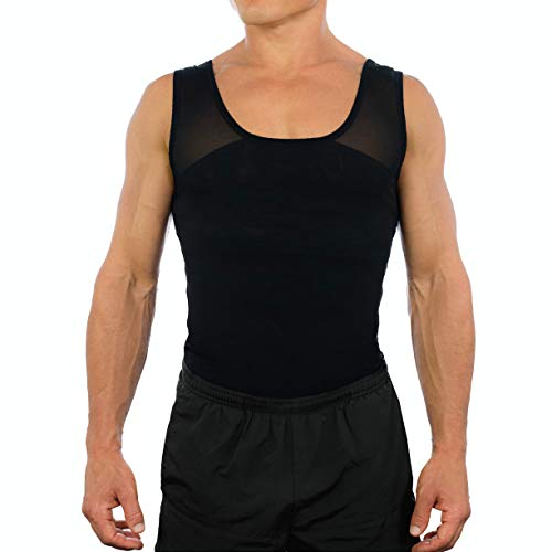 Esteem Apparel Original Men's Chest Compression Shirt to Hide Gynecomastia Moobs (Black, Medium)