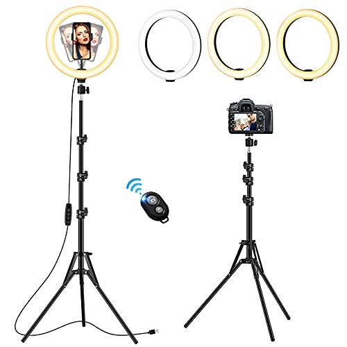 VEVICE Luce ad Anello LED con Stativo Treppiede, 10 pollice Selfie Ring Light Alta con Supporto...
