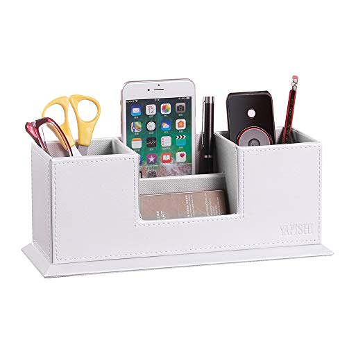 YAPISHI 4格 ペン立て オフィス ペンスタンド 多機能 こものいれ 卓上収納 PUレザー 文房具 便利 収納 事務用品 デスクオーガナイザー 小物入れ