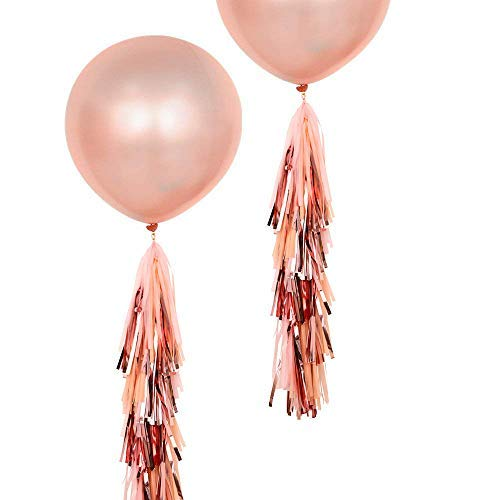 Fonder Mols 2pcs 36 inch Rose Gold Giant Round Balloons with Tassels Garland Tail for Wedding Baby Shower Event & Party Supplies
