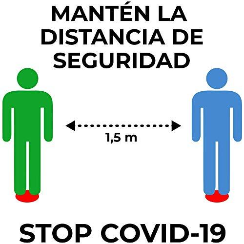Señalización personalizada distancia de seguridad COVID-19 - Medidas de seguridad contra el Coronavirus y otras pandemias. 4 Círculos adhesivos de 12 cms