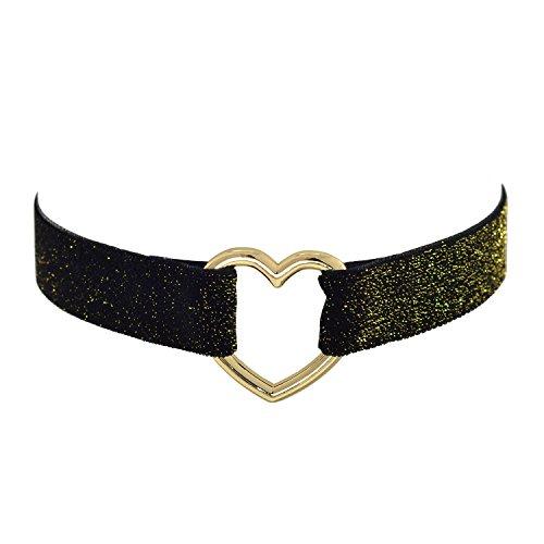 Paialco Gargantilla gótica con cinturón de terciopelo negro brillante de 30 a 38 cm