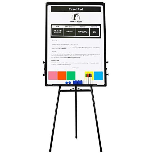 Whiteboard mit Ständer/Flipchart Set 100 x 70cm - stehend Magnettafel mit Stativ + 1 Magnetischer Schwamm, 4 trocken abwischbare Stifte, 2 Magneten und 58 x 81cm Flip Chart Papier mit 25 Blatt